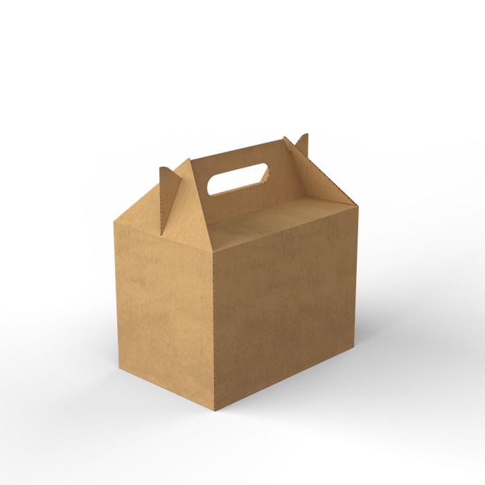 Boîte en carton (à emporter) à poignées, manille, 240x160x180 mm, 100 recyclable
