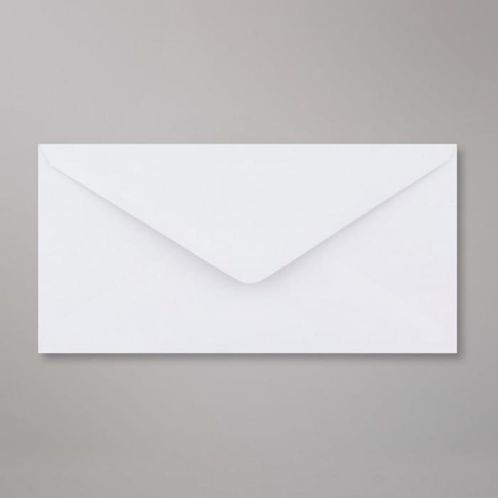 Weißer Briefumschlag aus Recycling-Papier 110x220 mm (DL)