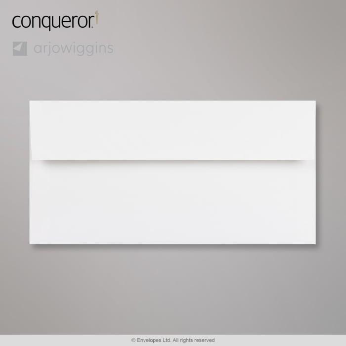 Kirkkaanvalkoinen Conqueror-kirjekuori 110x220 mm (DL)