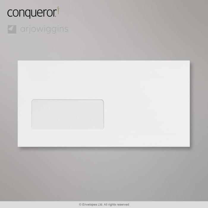 Sobre blanco brillante verjurado Conqueror con ventanilla de 110x220 mm (DL)