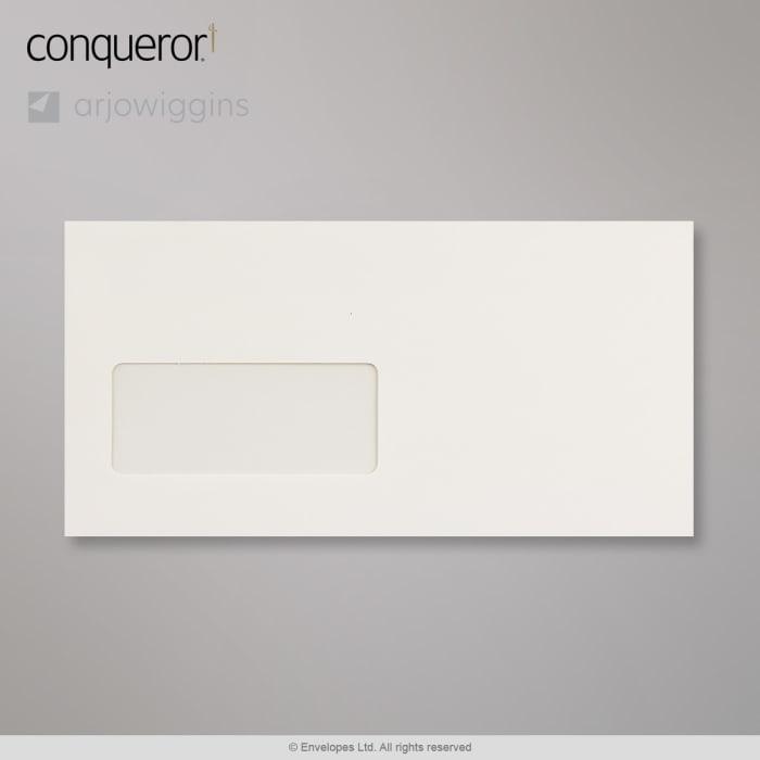 Enveloppe conqueror velin blanc nacré 110x220 mm (DL)