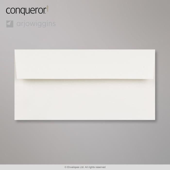 Valkoinen Conqueror-kirjekuori 110x220 mm (DL)