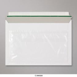 249x359 mm Enveloppe courrier non imprimée avec poche pour documents, Blanc, Auto-adhésive avec Bande Détachable