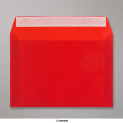 162x229 mm (C5) Rot Transparent Briefumschlag, Rot, Haftklebend