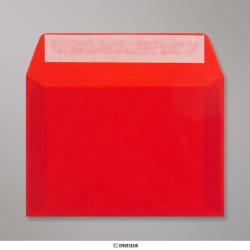 114x162 mm (C6) Enveloppe Transparente Rouge, Rouge, Auto-adhésive avec Bande Détachable