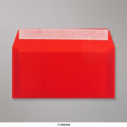 110x220 mm (DL) Busta Rossa Traslucida, Rosso, Con autoadesivo protetto da strip