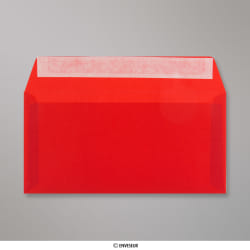 Sobre Translúcido Rojo de 110x220 mm (DL), Rojo, Autoadhesivo