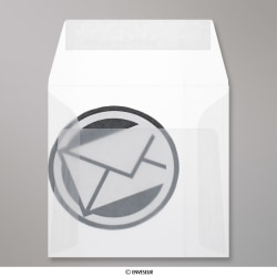 125x125 mm Enveloppe Transparente, Transparent, Auto-adhésive avec Bande Détachable