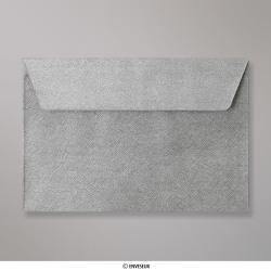 Sobre Con Textura Plateado Brillante de 114x162 mm (C6), Plateado, Autoadhesivo
