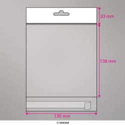 135x138 mm Klar Versandtasche, Klar, Haftklebend