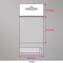 65x60 mm Sacchetto in cellofan con dispositivo d'aggancio, Trasparente, Con strip adesivo