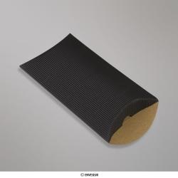 162x114+30 mm (C6) Boîte en carton striée noire, Noire, Non gommé
