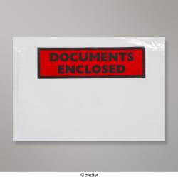 81x113 mm (C7) Klare Brieftasche für Dokumentenbeilage - bedruckt, Klar, Haftklebend - Verschluss