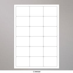 63.5x46.6 mm (18/feuille) étiquettes adhésives blanches, Blanc, Auto-adhésive avec Bande Détachable