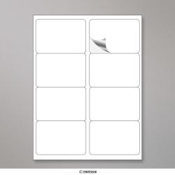 99.1x67.7 mm (8 Stück) Weisser Wetterfester Folie-Etikette, Permanent haftend, Weiß, Haftklebend