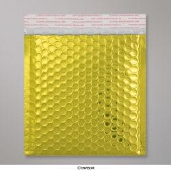 165x165 mm Goldene Glänzende Metalische Luftpolster - Versandtasche, Gold, Haftklebend