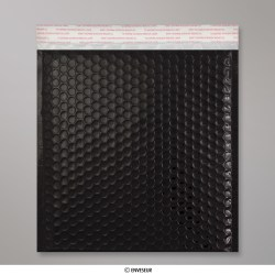 230x230 mm Busta a bolle d'aria con finitura metallica brillante in nero, Nero, Con strip adesivo