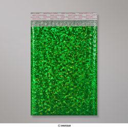 250x180 mm Holographisch Groen Metalen Bubbel Tasje