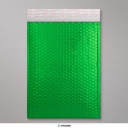 324x230 mm (C4) Busta a bolle d'aria con finitura metallica brillante in verde, Verde, Con strip adesivo