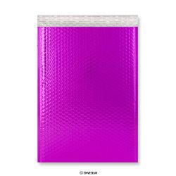 450x320 mm (C3) Busta a bolle d'aria con finitura metallica brillante in rosa caldo, Rosa vivo, Con strip adesivo