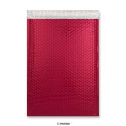 450x320 mm (C3) Rote Glänzende Metalische Luftpolster - Versandtasche, Rot, Haftklebend - Verschluss