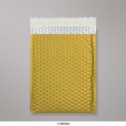 250x180 mm Busta a bolle d'aria con finitura metallica opaca in oro, Oro, Con strip adesivo