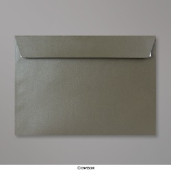 Sobre con lustre de perla gris marrón de 162x229 mm (C5), Gris Marrón Perlado, Autoadhesivo