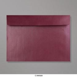229x324 mm (C4) Aubergine Briefumschlag mit Perlmutteffekt, Aubergine Perlmutt, Haftklebend - Verschluss