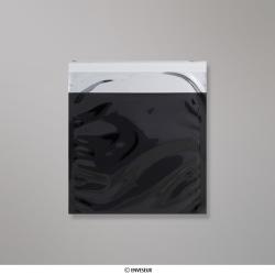 165x165 mm Busta in Lamina Metallica Lucida Nera, Nero, Con strip adesivo