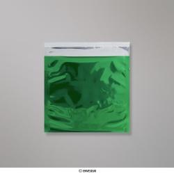 165x165 mm Busta in Lamina Metallica Lucida Verde, Verde, Con autoadesivo protetto da strip