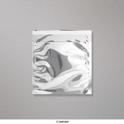 165x165 mm Busta in Lamina Metallica Lucida Argento, Argento, Con strip adesivo
