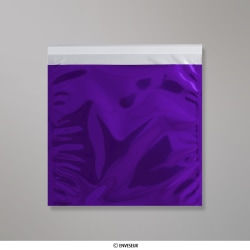 220x220 mm Sachet Alu Métallisé Brillant Violet, Violet, Auto-adhésive avec Bande Détachable