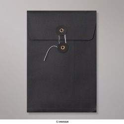 229x162x25 mm (C5) String & Washer Black Gusset Envelope