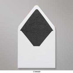 160x160 mm envelope branco forrado + papel fancy preto