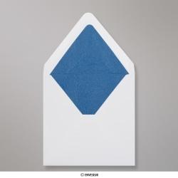 160x160 mm envelope branco forrado + papel fancy azul