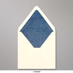 160x160 mm Enveloppe Doublée Ivoire + Papier Décoratif Texturé Bleu, Ivoire + Papier Décoratif Texturé Bleu, Gommée