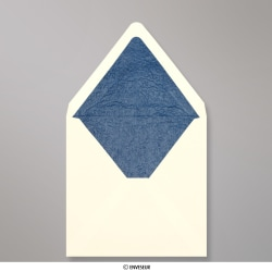 160x160 mm envelope marfim forrado + papel fancy azul