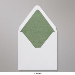 160x160 mm envelope branco forrado + papel fancy verde