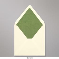 160x160 mm envelope marfim forrado + papel fancy verde