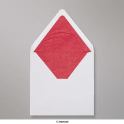 160x160 mm envelope branco forrado + papel fancy vermelho