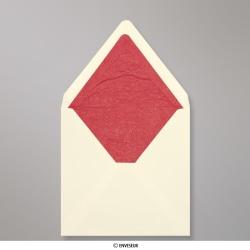 160x160 mm Enveloppe Doublée Ivoire + Papier Décoratif Texturé Rouge, Ivoire + Papier Décoratif Texturé Rouge, Gommée