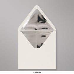 Sobre Marfil Forrado Con Papel Aluminio Plateado de 160x160 mm, Marfil + Papel Aluminio Plateado, Engomado
