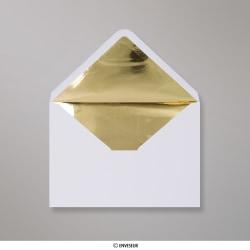 162x229 mm (C5) envelope branco forrado + papel de prata dorado