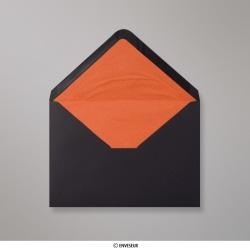 162x229 mm (C5) Zwart + enveloppen met oranje fantasiepapier aan binnenzijde
