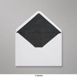 114x162 mm (C6) envelope branco forrado + papel fancy preto