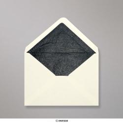 114x162 mm (C6) Busta Avorio Foderata con Carta Decorativa Nera, Avorio + Carta Decorativa Nera, Gommata