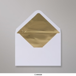 114x162 mm (C6) envelope branco forrado + papel de prata dorado