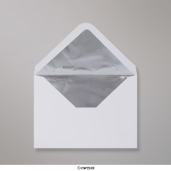 114x162 mm (C6) envelope branco forrado + papel de prata