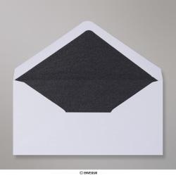 110x220 mm (DL) envelope branco forrado + papel fancy preto