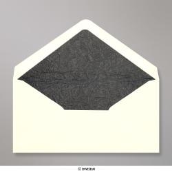 110x220 mm (DL) envelope marfim forrado + papel fancy preto